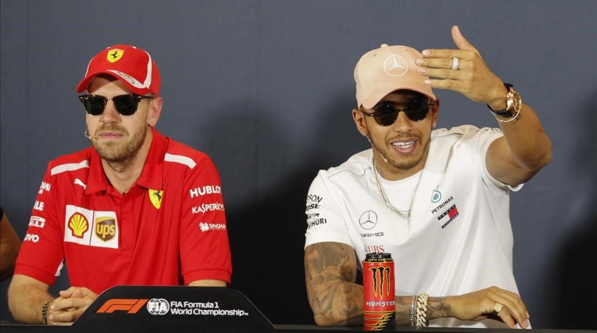 Sebastian Vettel y Lewis Hamilton, en la conferencia de prensa de hoy del GP de Montecarlo de F-1.