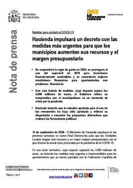 Hacienda anuncia el impulso de un segundo decreto ley para que los ayuntamientos dispongan de 3.000 millones de euros frente al covid-19.