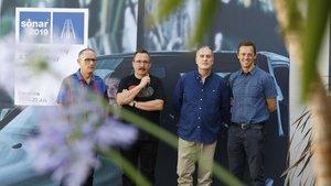 De izquierda a derecha, Enric Palau, Sergio Caballero y Ricard Robles, directores del Sónar, y Ventura Barba, director ejecutivo de Advanced Music, este miércoles.