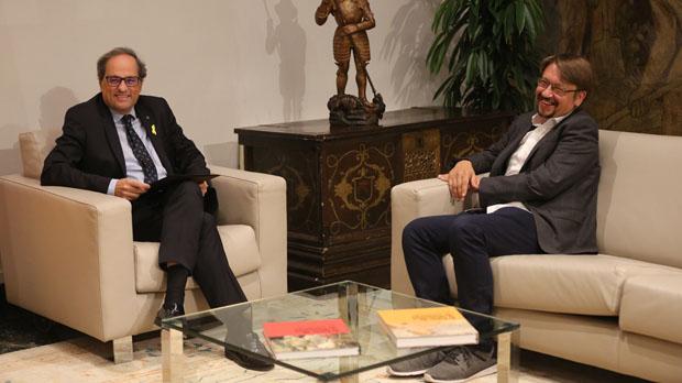 Torra se reúne con Domènech en la Generalitat.