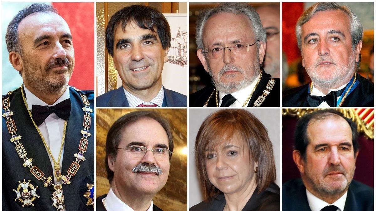 El tribunal: de izquierda a derecha y de arriba a abajo,Manuel Marchena, Antonio del Moral, Luciano Varela, Juan Ramón Berdugo, Andrés Palomo, Ana Ferrer y Andrés Martínez Arrieta.