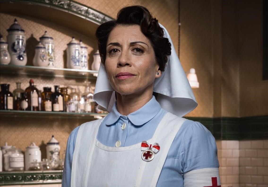 La actriz Alicia Borrachero, caracterizada como la duquesa de la Victoria en Tiempos de guerra.