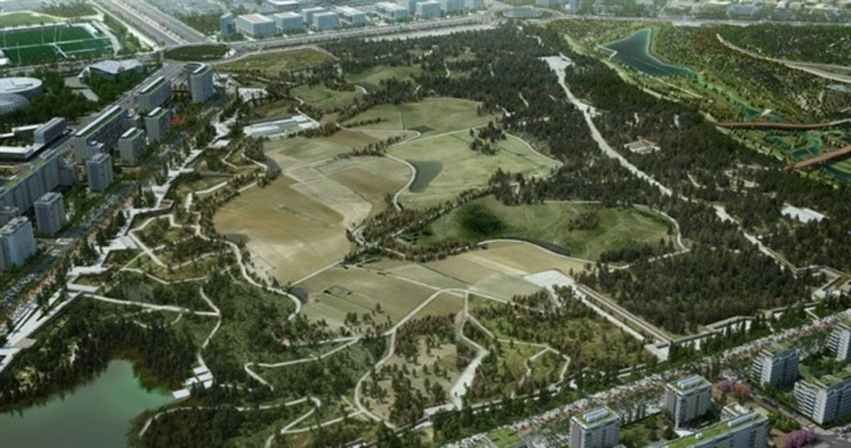 Fotocomposición del futuro parque central de Valdebebas.