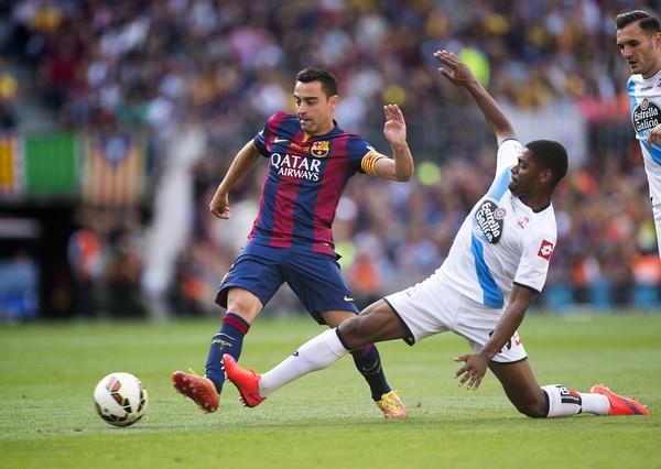 Xavi Hernández en el partido entre el FC Barcelona y el Deportivo, su despedida de la afición del Barça