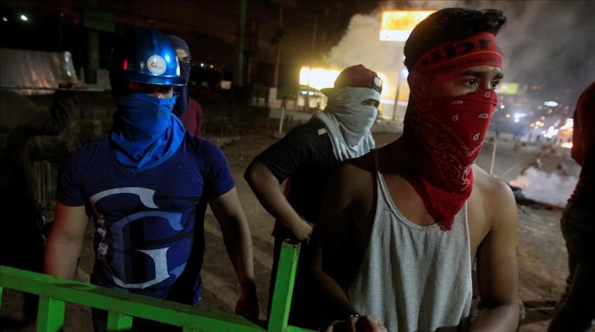 Protesta de seguidores de la oposición en Tegucigalpa.