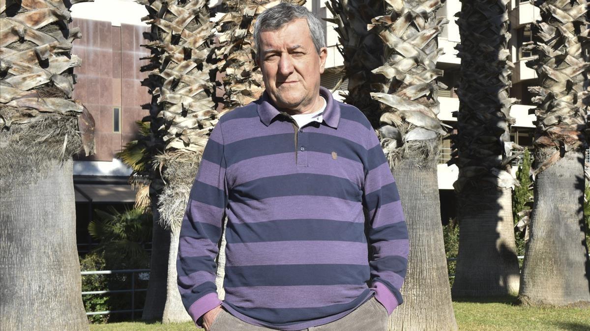 Domiciano Sandoval, jubilado y portavoz de Marea Pensionista, en Barcelona.