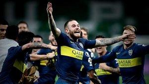 Los jugadores de Boca Juniors celebran la clasificación para la final de la Copa Libertadores.