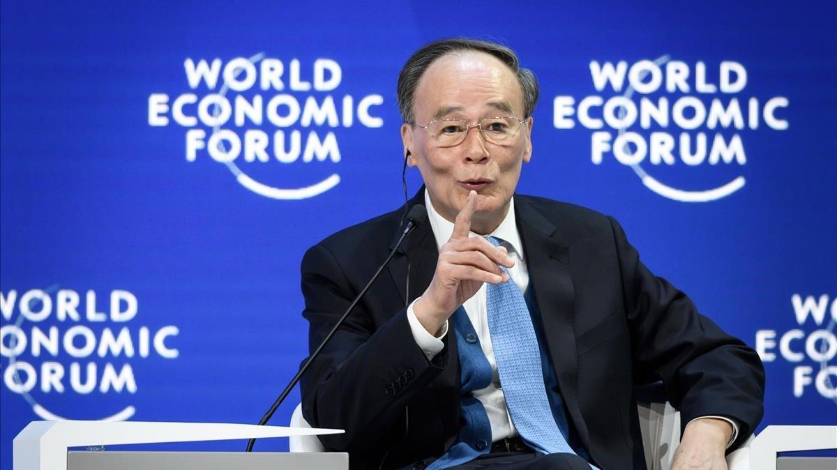 El vicepresidente chino Wang Qishan, este miércoles en Davos.