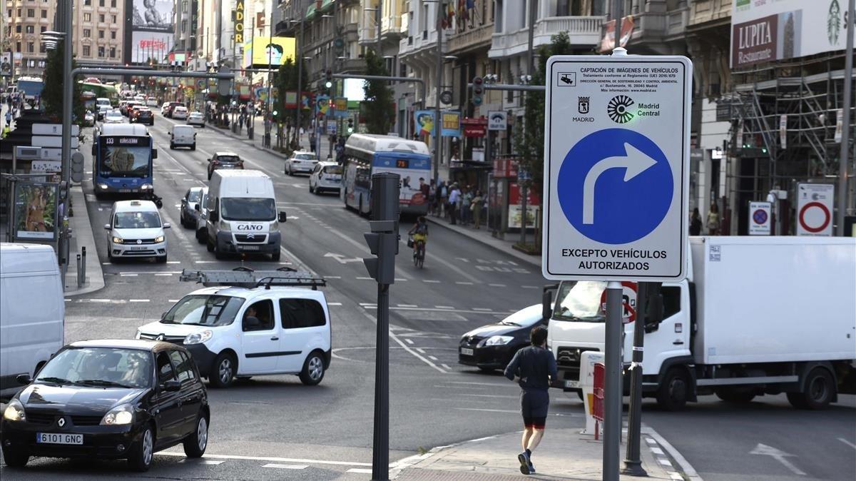 Señal de tráfico de Madrid Central