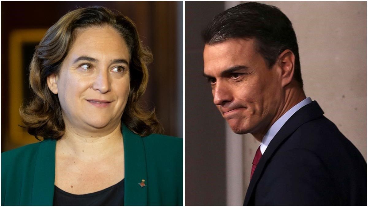 La alcaldesa Ada Colau i el expresidente en funciones Pedro Sánchez