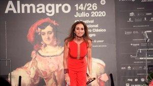 Ana Belén, emocionada en Almagro durante la entrega del premio Corral de Comedias, este martes por la noche.