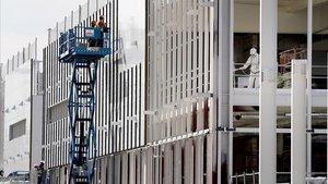 Obras del Hospital de Emergencias contra el covid-19 que se construye en Valdebebas.