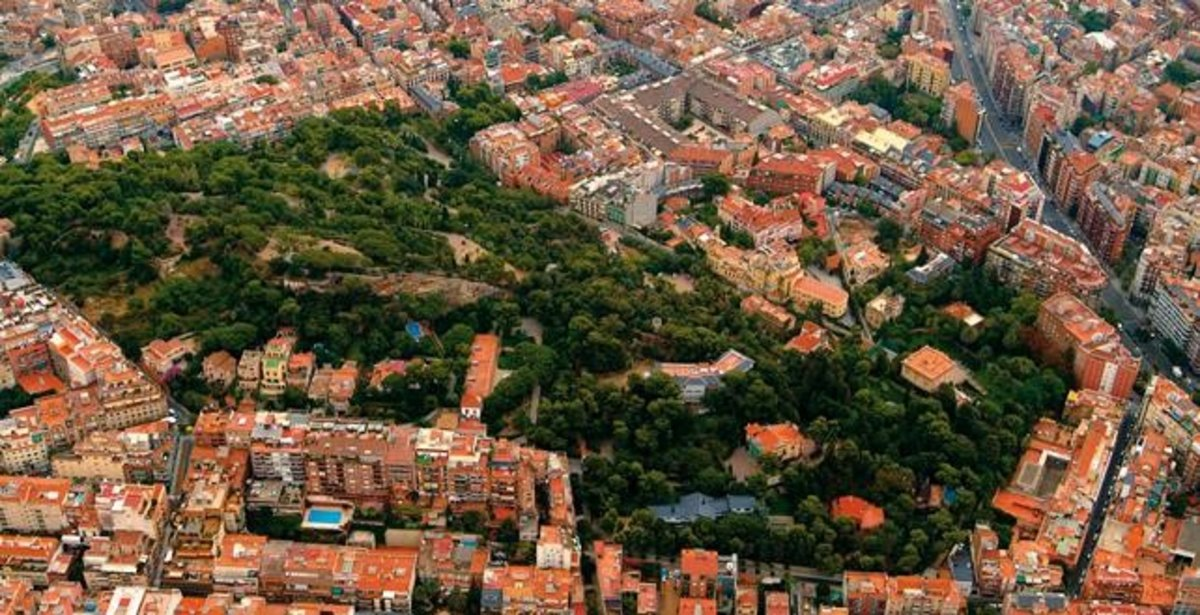 Vista aérea de la zona del Putxet y El Farró, en el distrito de Sarrià-Sant Gervasi.