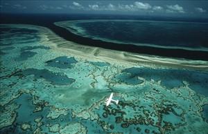 La gran barrera de coral australiana, en el 2004, desde el aire.