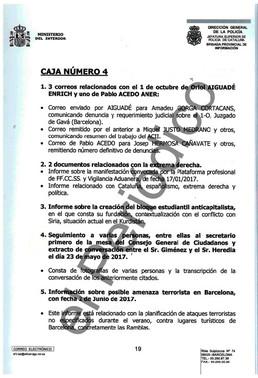 Páginas del oficio 3022/2017 entregado por la Policía a la jueza Carmen Lamela