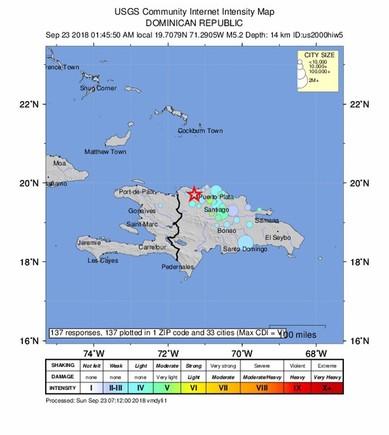 Una cadena de sismos sacude a República Dominicana y provocan daños materiales