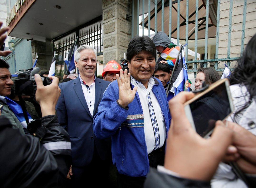 Bolivia s President Evo Morales and Vice President Alvaro Garcia Linera are seen after registering candidates in Bolivian primariesin La PazBolivia.REUTERS David Mercado
