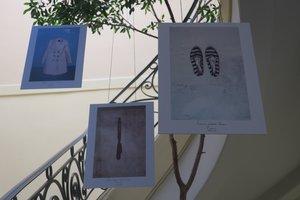 Vista de la exposicionToco tu pielinauguradaen la sede de la Fiscalia uruguayaen MontevideoUruguayLa exhibicion fotografica tiene como protagonista piezas de ropa de victimas de feminicidio.EFE Nadia Amesti