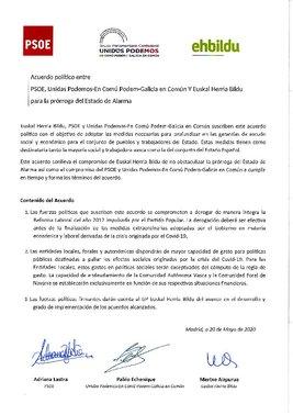 Acuerdo entre PSOE, Podemos y EH-Bildu
