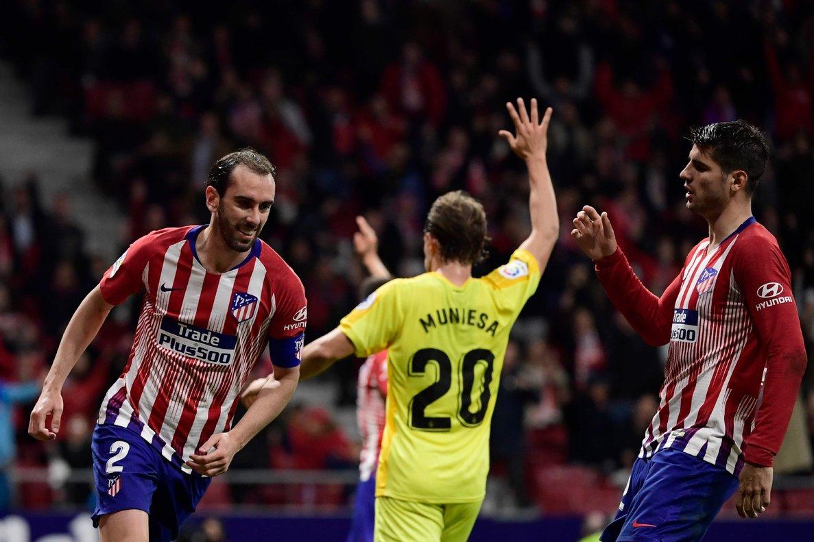 Godín celebra el primer gol del Atlético.