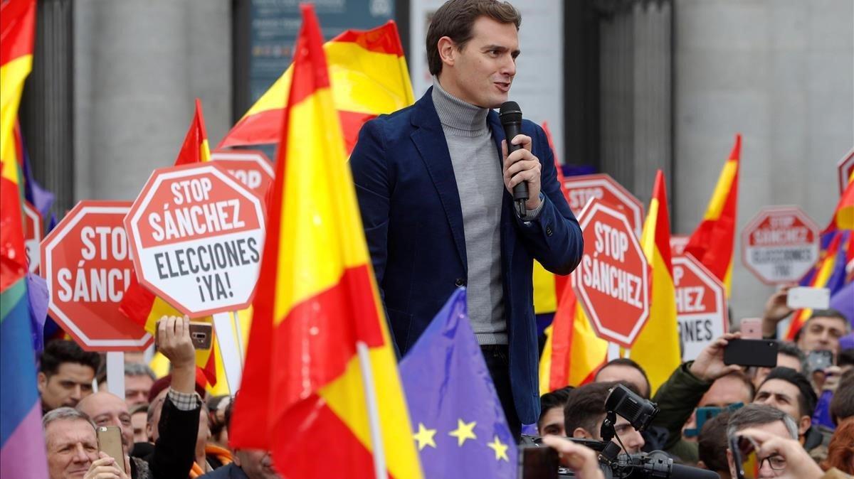 El líder de Ciudadanos, Albert Rivera, en la concentración de Madrid.