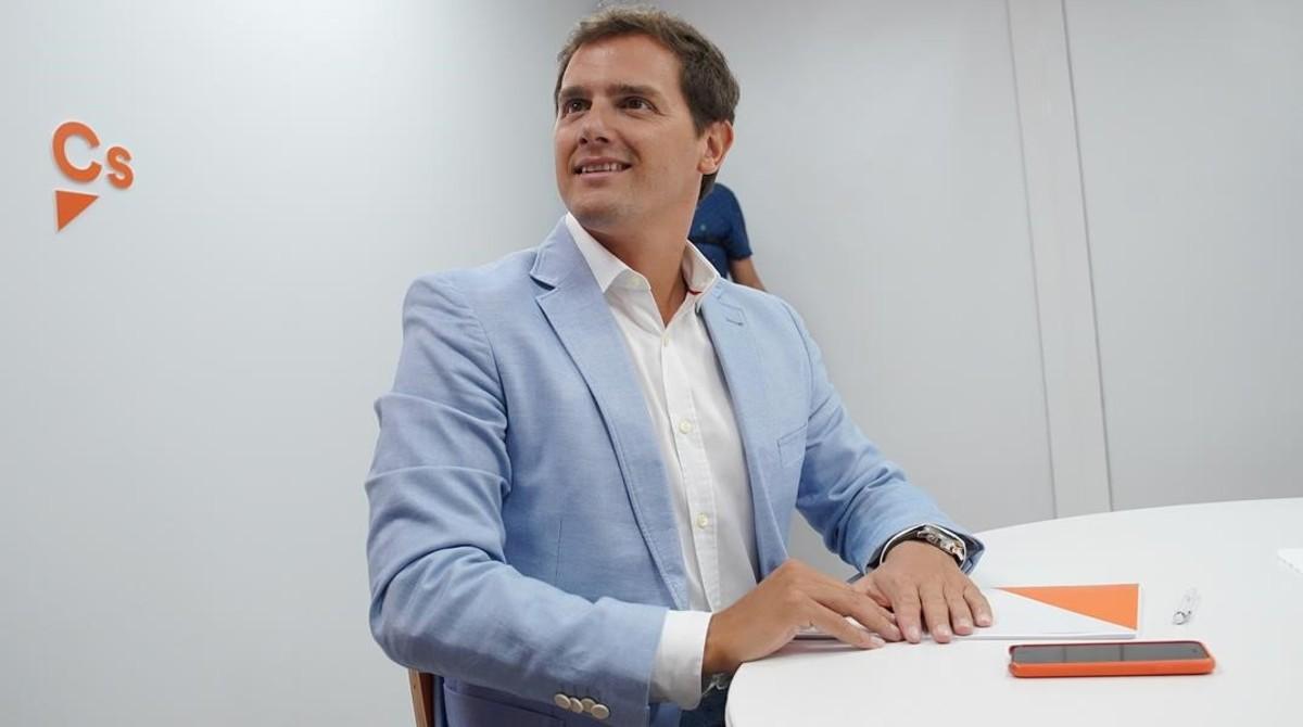 Albert Rivera, durante una reunión de su partido.