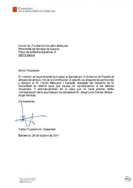 Alegaciones enviadas por el Govern al Senado en contra de la aplicación del artículo 155 en Catalunya.