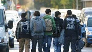 Alumnos del colegio Juan de Garay de Valencia, donde se produjo un mediático caso de acoso escolar en el 2012.