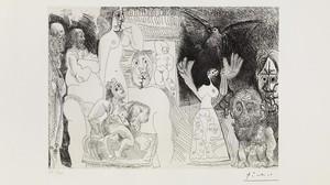 'Autorretrato desdoblado', uno de los grabados de Picasso, de 1970, expuesto en el museo barcelonés del artista malagueño.