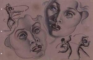 Cabezas y atletas (1945), de Maruja Mallo, en la exposición Mujeres surrealistas de la galería Mayoral.