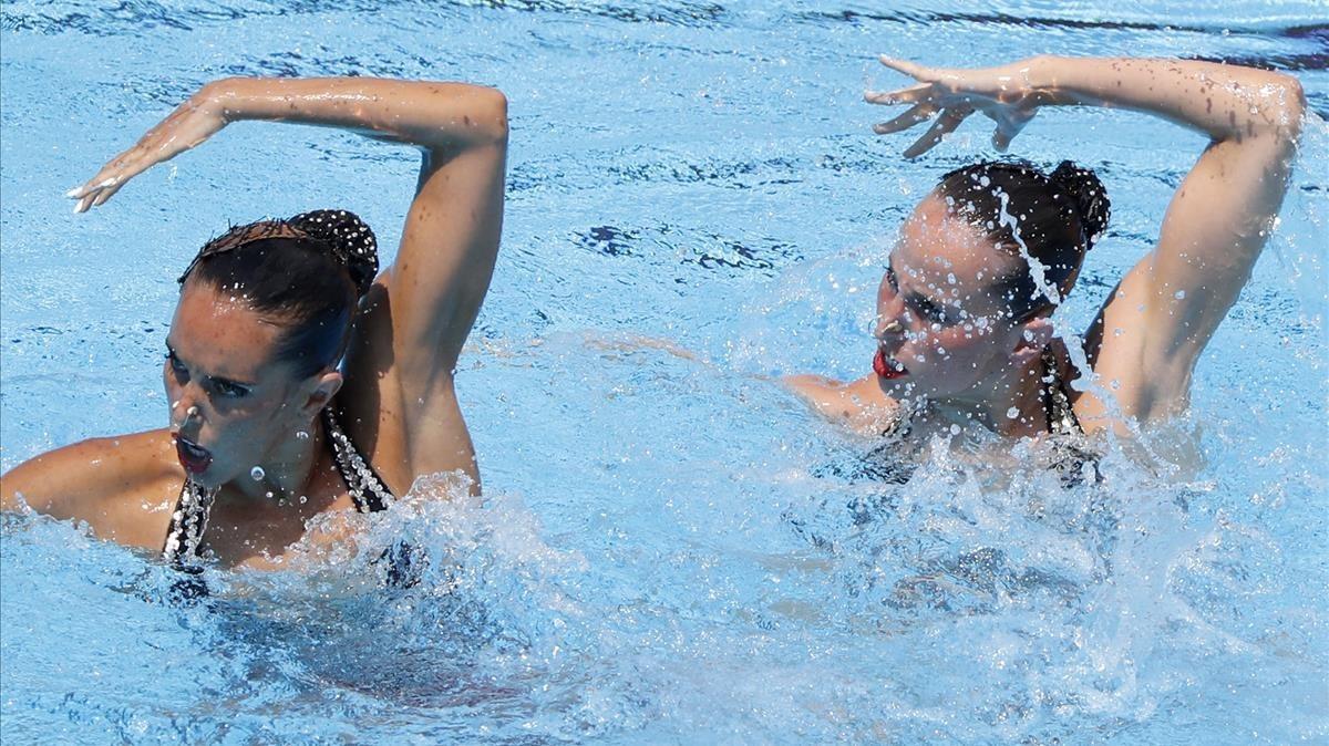 Carbonell y Ramírez, en la final de dúo libre.