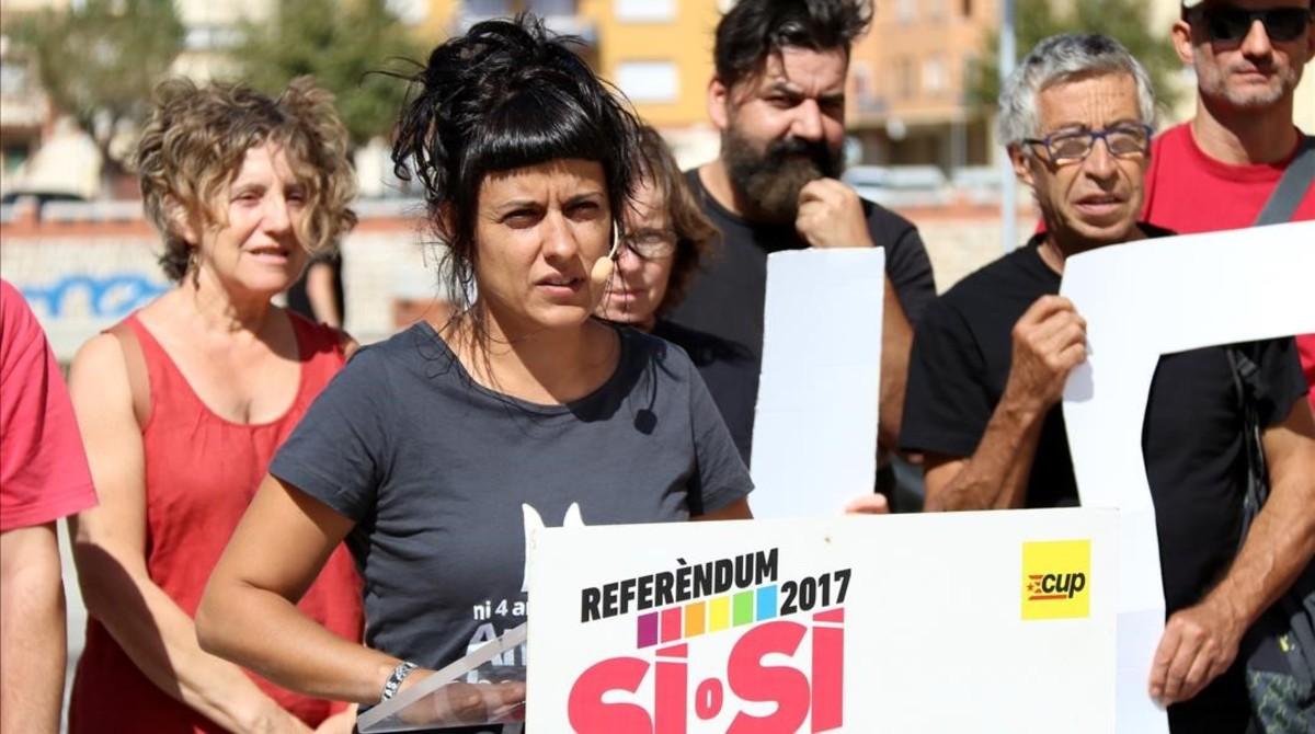 La diputada de la CUP Anna Gabriel, este martes, en un acto en Tortosa.