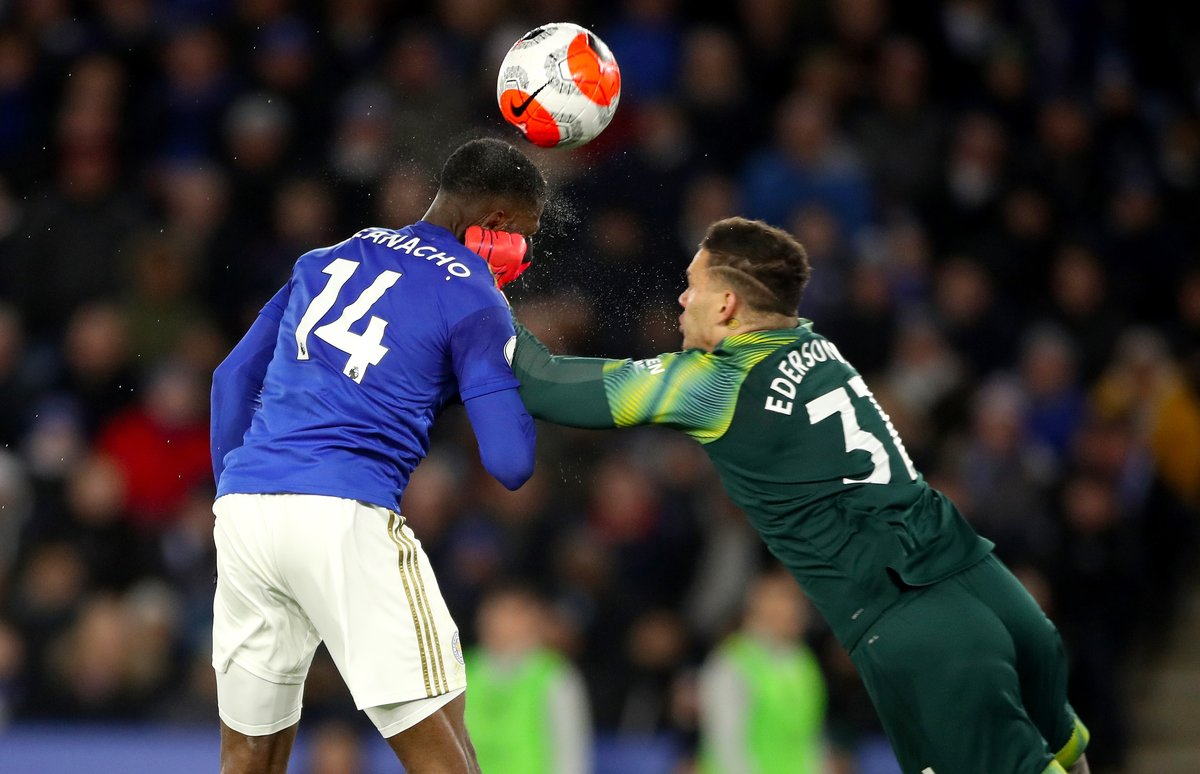 22 February 2020, England, Leicester: Manchester City goalkeeper Ederson (K) blockes a shot by Leicester City's Kelechi Iheanacho during the English Premier League soccer match between Leicester City and Manchester City at King Power Stadium. Photo: Nick Potts/PA Wire/dpa
