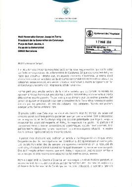 Escrito de felicitación al presidente de la Generalitat.