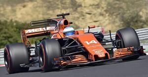 Fernando Alonso, en la sesión de calificación del GP de Hungría.