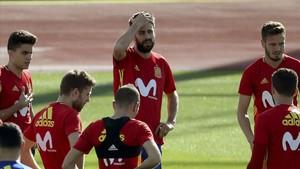 Gerard Piqué, junto a otros jugadores de la selección española en Las Rozas.