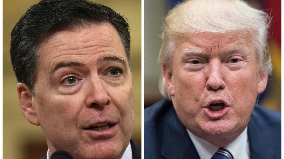 Imágenesde archivo del exdirector del FBI, James Comey, y el presidente de Estados Unidos, Donald Trump.