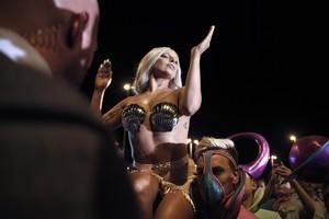 Lady Gaga durante su actuación en Atenas, el pasado mes de septiembre.