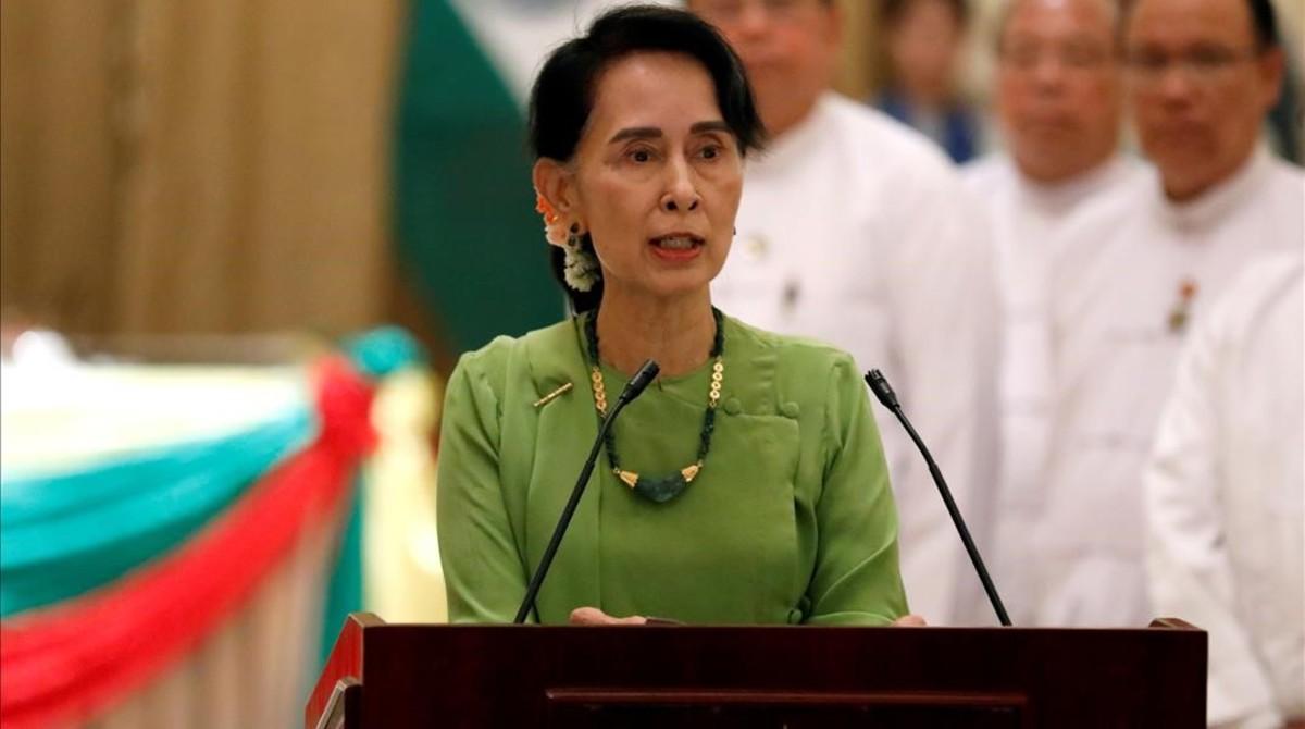 La líder birmana y premio Nobel de la Paz Aung San Suu Kyi.