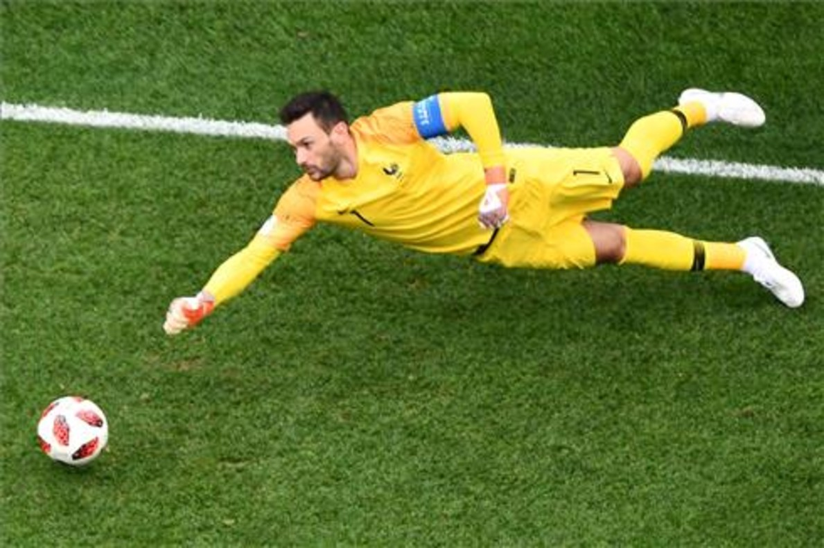 Lloris, en una acción del partido contra Uruguay.