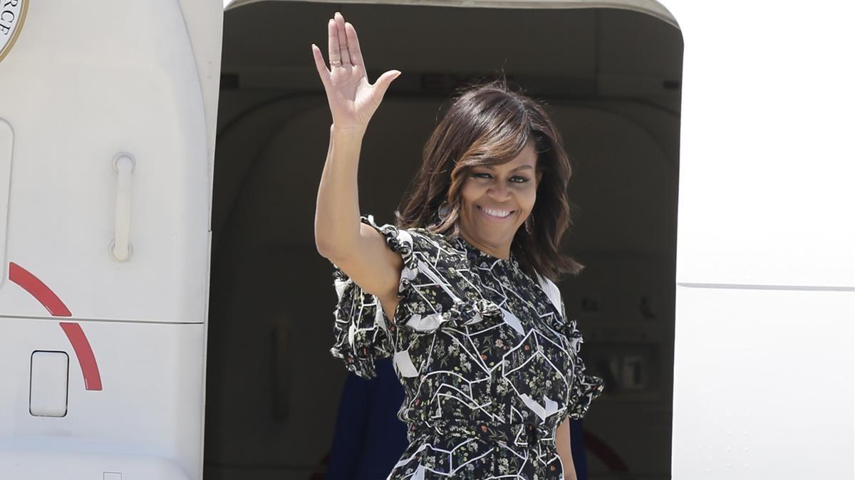 Michelle Obama, en julio del año pasado en el aeropuerto de Madrid.