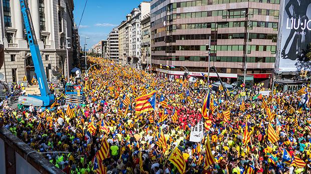 El centro de Barcelona se llena de esteladas
