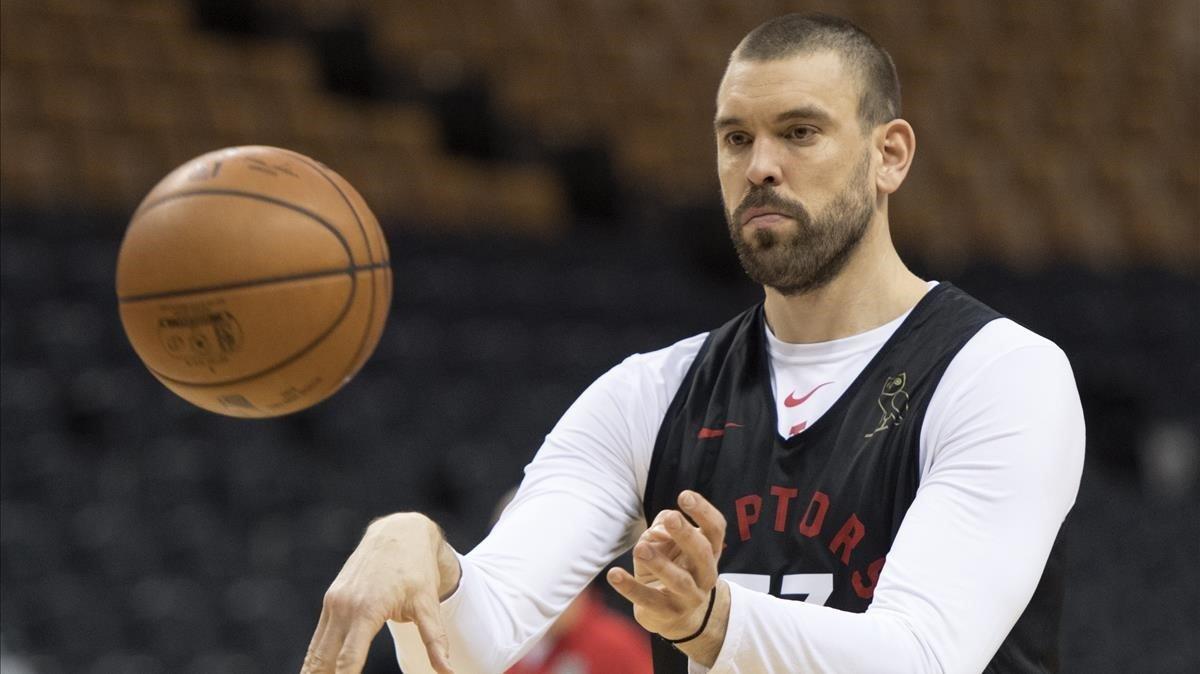 Marc Gasol entrenando con los Toronto Raptors.