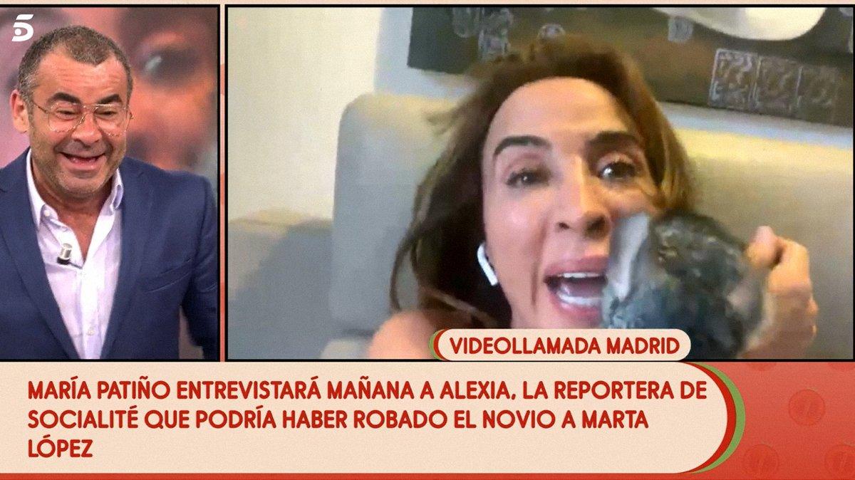 """María Patiño presenta en 'Sálvame' a su chinchilla, que le ataca en directo: """"¡No me muerdas!"""""""