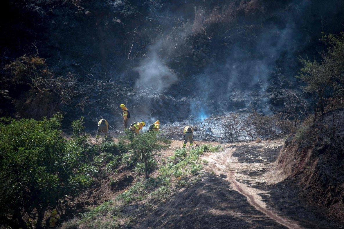Miembros de las brigadas de extinción trabajando en Mogan, en Gran Canaria.