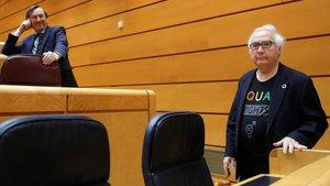 El ministro de Universidades Manuel Castells (en primer término) junto al senador del PP Rafael Hernando (tras él), durante la sesion de control al Gobierno en el pleno del Senado, este martes en Madrid.