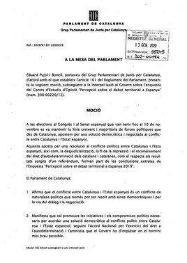 Moción de JxCat sobre la autodeterminación