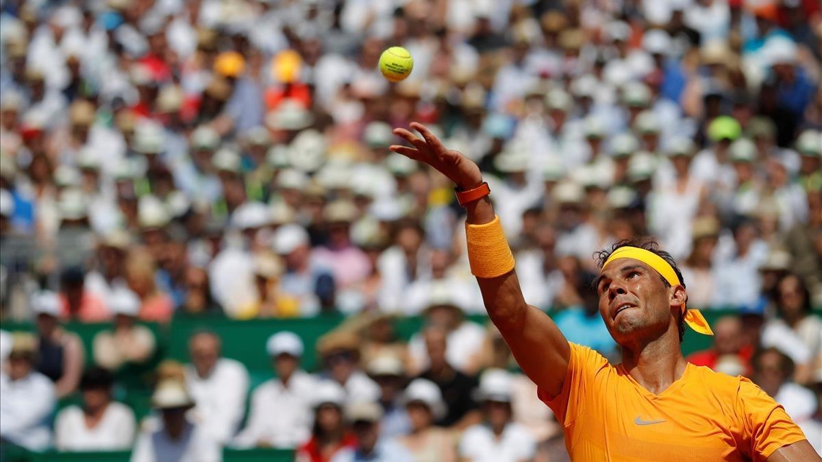 Nadal, en su semifinal ante Dimitrov.