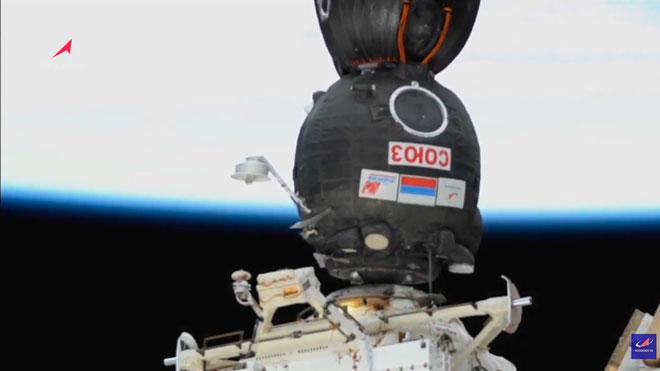 La nave Soyuz MS-17 se acopla a la Estación Espacial Internacional.