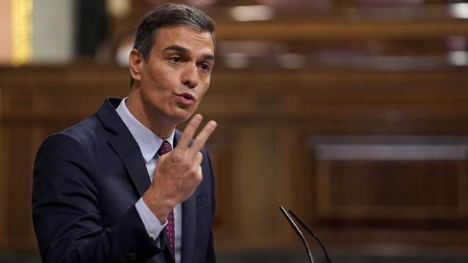 La OCDE suaviza la caída del PIB de España en 2020. En la foto, el presidente del Gobierno, Pedro Sánchez.